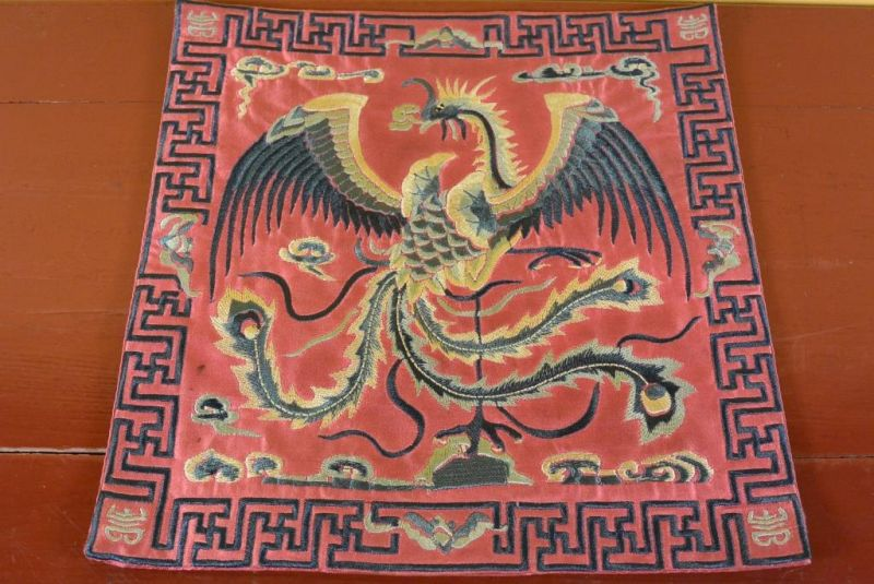 Chinese Embroidery - Square Ancestor - Emblem - Red - Phoenix