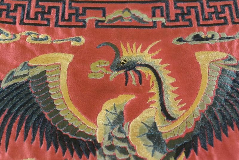 Chinese Embroidery - Square Ancestor - Emblem - Red - Phoenix 2
