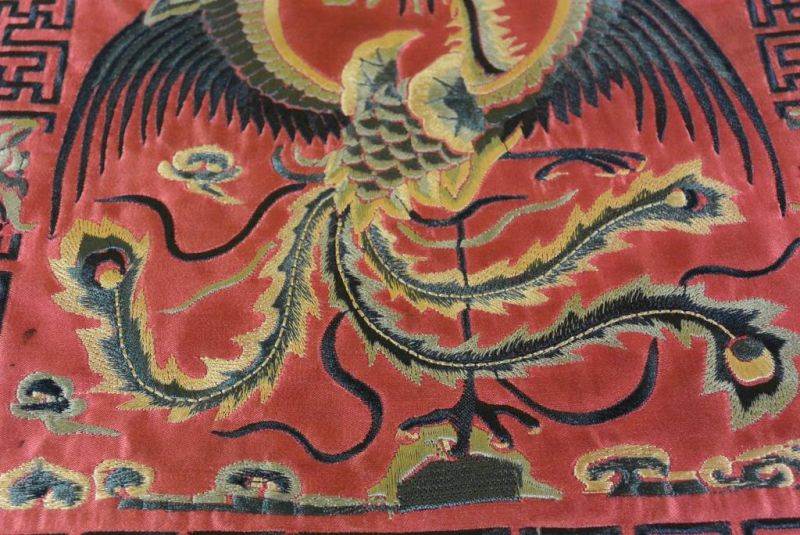 Chinese Embroidery - Square Ancestor - Emblem - Red - Phoenix 3