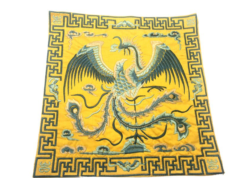 Chinese Embroidery - Square Ancestor - Emblem - Golden - Bird of paradise