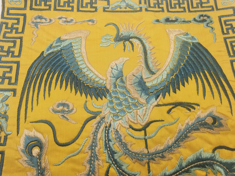 Chinese Embroidery - Square Ancestor - Emblem - Golden - Bird of paradise 2