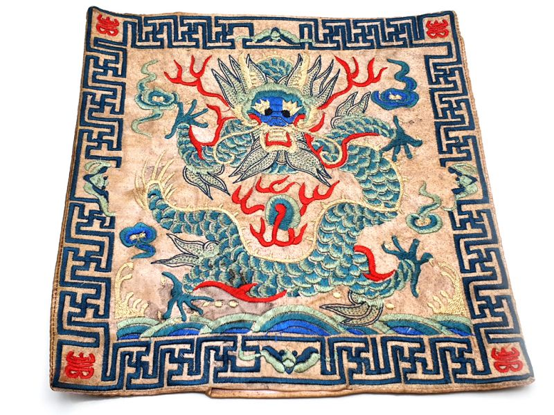 Chinese Embroidery - Square Ancestor - Emblem - Dragon