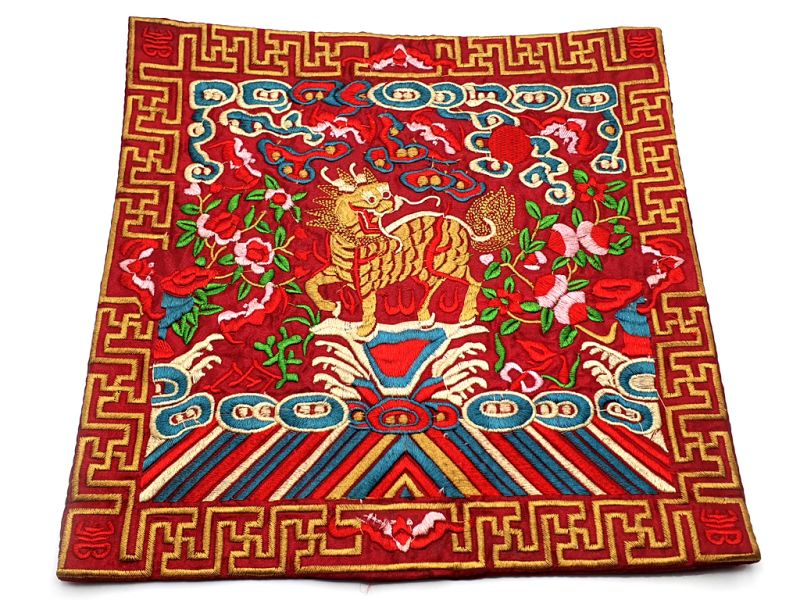 Chinese Embroidery - Square Ancestor - Emblem - Chinese guardian lions