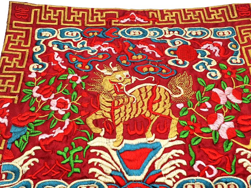 Chinese Embroidery - Square Ancestor - Emblem - Chinese guardian lions 2