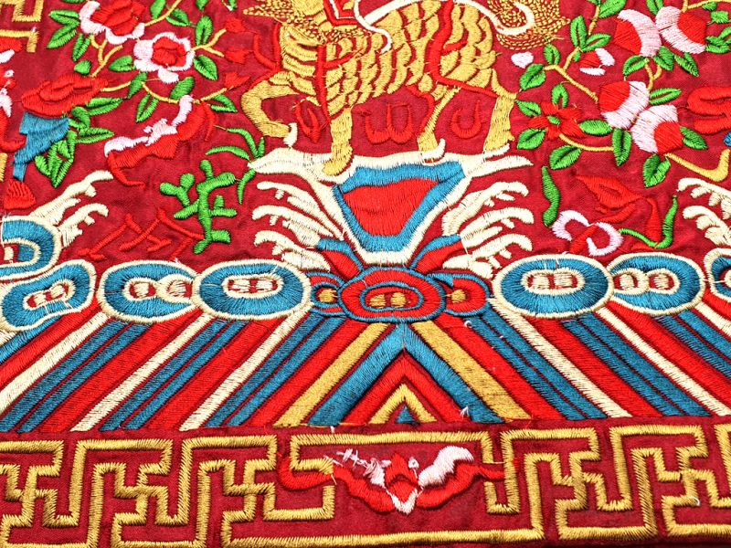 Chinese Embroidery - Square Ancestor - Emblem - Chinese guardian lions 3