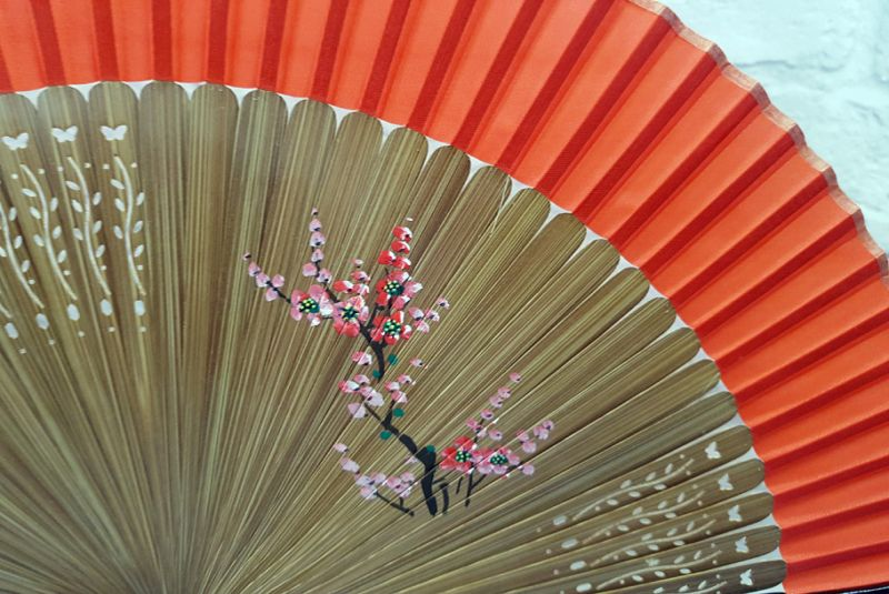 Asian Hand fan - Hand Painted - Cherry blossoms - Red and black 2