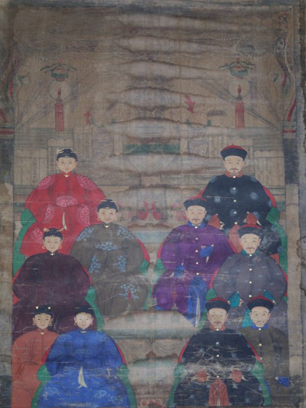 Old Chinese Chinese Ancestor Painting - Family of 10 chinese mandarins 2