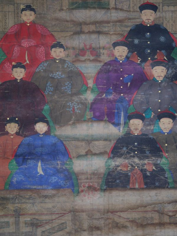 Old Chinese Chinese Ancestor Painting - Family of 10 chinese mandarins 3