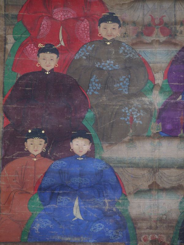Old Chinese Chinese Ancestor Painting - Family of 10 chinese mandarins 4