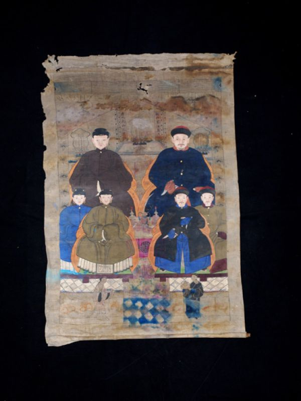 Old Chinese Chinese Ancestor Painting - Chinese family of 6 people 2
