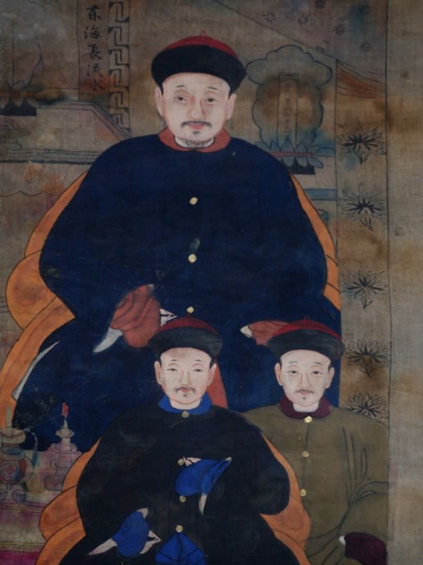 Old Chinese Chinese Ancestor Painting - Chinese family of 6 people 4