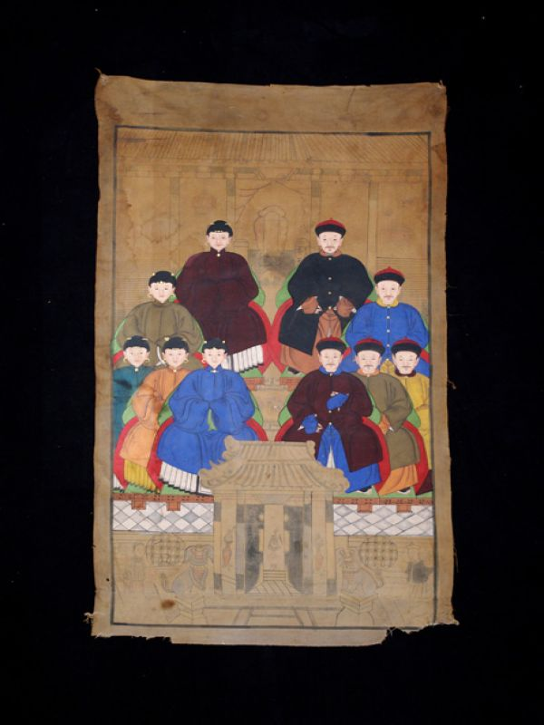 Old Chinese Chinese Ancestor Painting - Chinese dignitary family 2