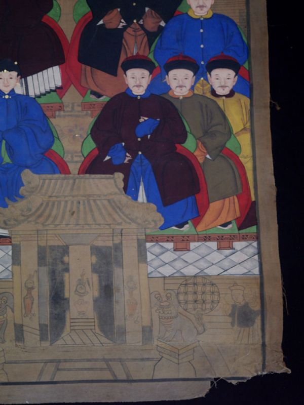 Old Chinese Chinese Ancestor Painting - Chinese dignitary family 3