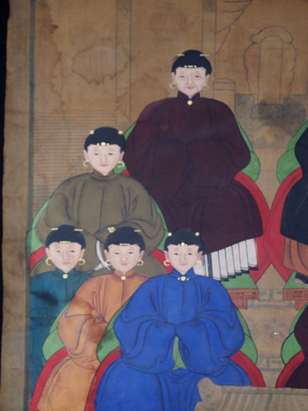 Old Chinese Chinese Ancestor Painting - Chinese dignitary family 4