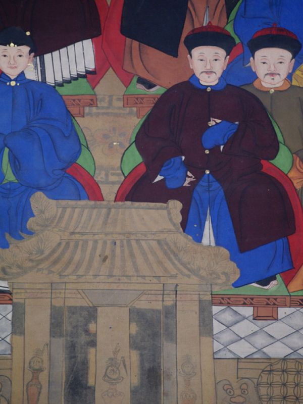 Old Chinese Chinese Ancestor Painting - Chinese dignitary family 5