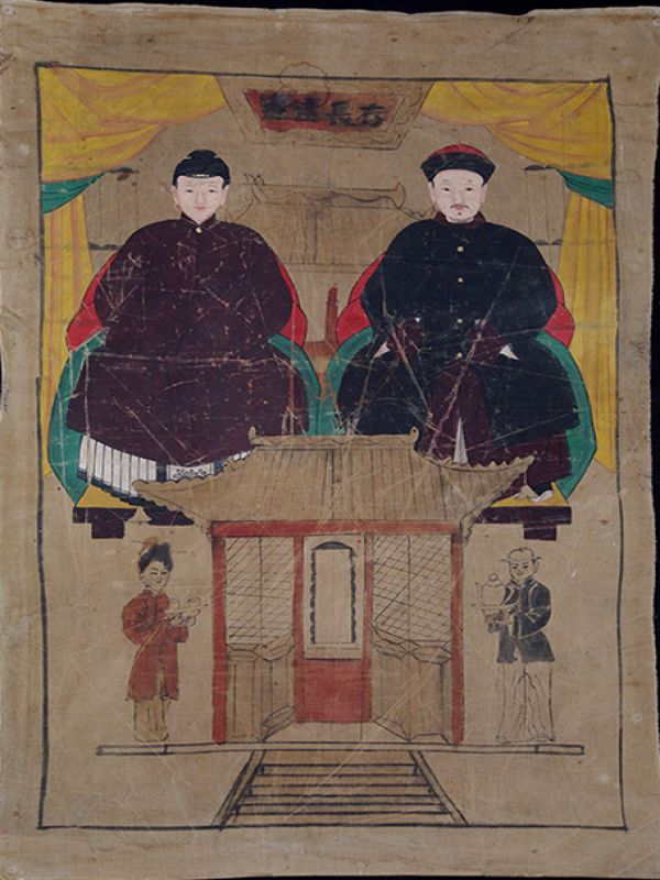 Old Chinese Chinese Ancestor Painting - Couple de dignitaires