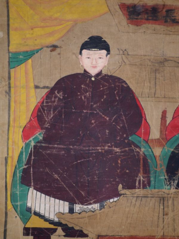 Old Chinese Chinese Ancestor Painting - Couple de dignitaires 3