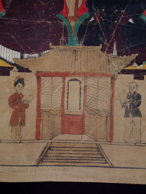 Old Chinese Chinese Ancestor Painting - Couple de dignitaires 5