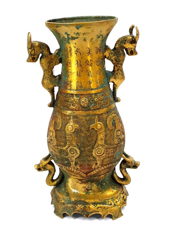 Chinese vase in gilded bronze - mythical animals