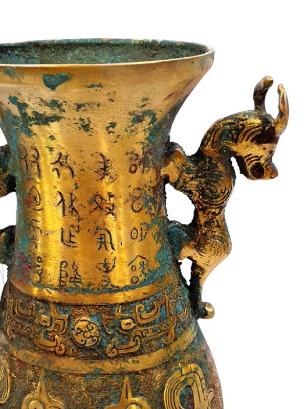 Chinese vase in gilded bronze - mythical animals 3