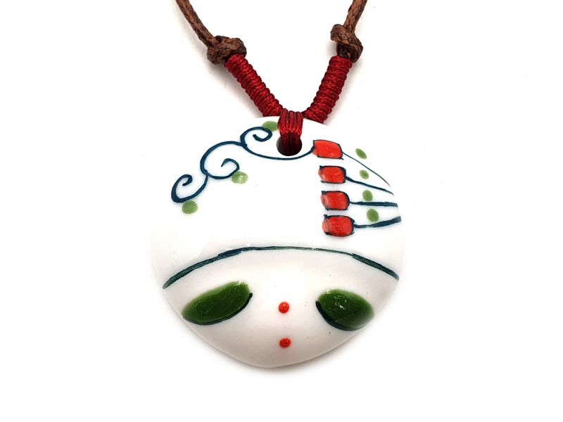 Asian ceramic heads collection - Necklace - Laos