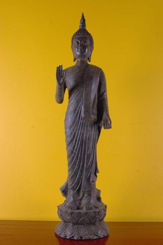 magnifique bouddha debout en bronze du tibet. Black Bedroom Furniture Sets. Home Design Ideas