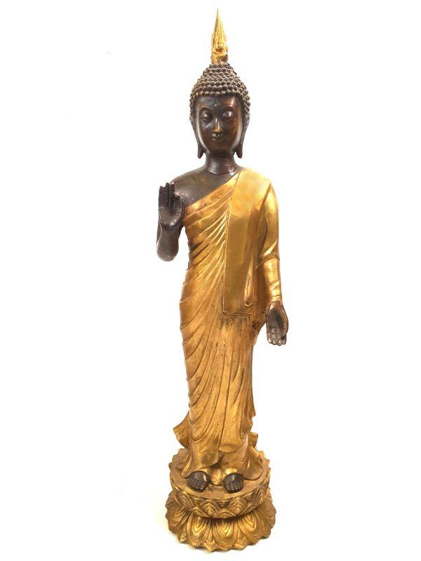 tr s grande statue de bouddha debout en bronze. Black Bedroom Furniture Sets. Home Design Ideas