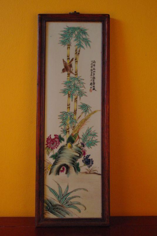 ancien panneau chinois peinture oiseaux. Black Bedroom Furniture Sets. Home Design Ideas