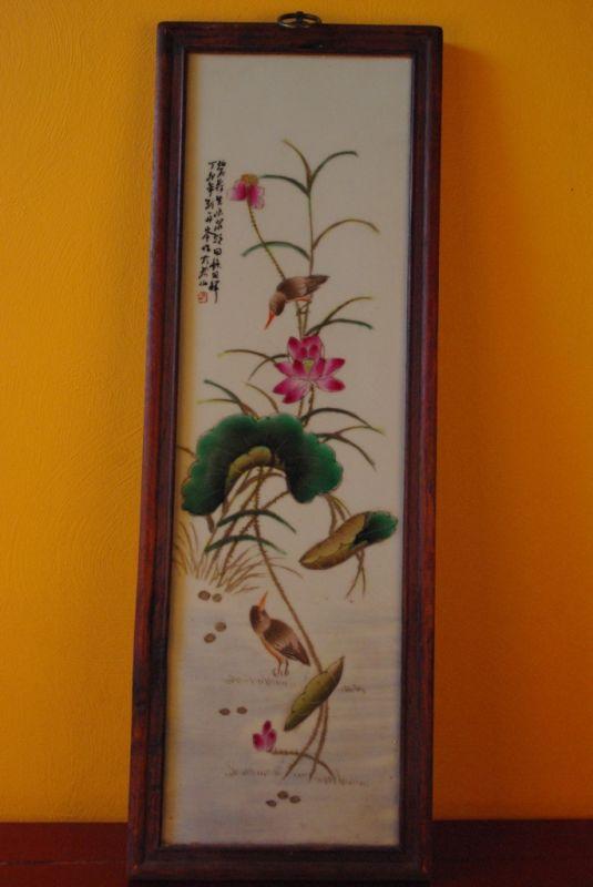 grand panneau chinois peinture sur porcelaine. Black Bedroom Furniture Sets. Home Design Ideas