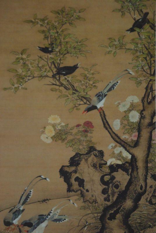 peinture chinoise sur soie representant deux oiseaux