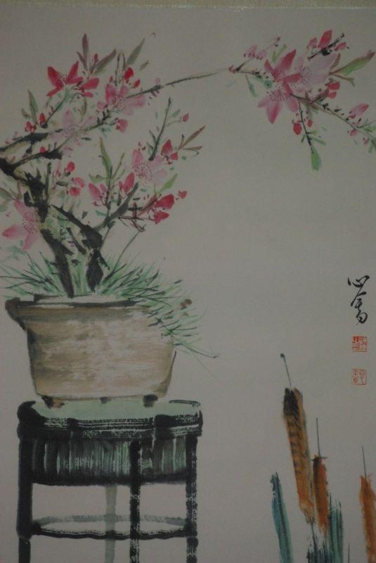 chinesisches aquarelle auf seide der garten. Black Bedroom Furniture Sets. Home Design Ideas