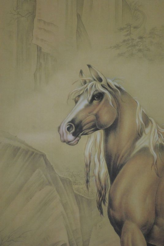 Peinture chinoise sur soie cheval for Peinture sur fer a cheval