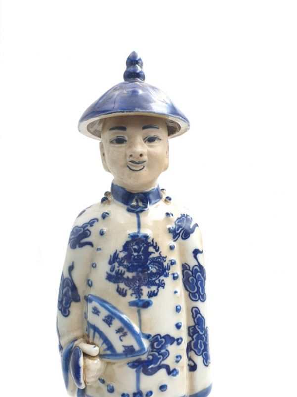 Chinese Young Mandarin Statue in Porcelain 2