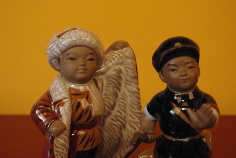 Chinese bisque pottery statue 2 characters 4
