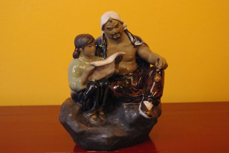 Chinese revolution bisque pottery statue