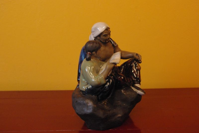 Chinese revolution bisque pottery statue 3