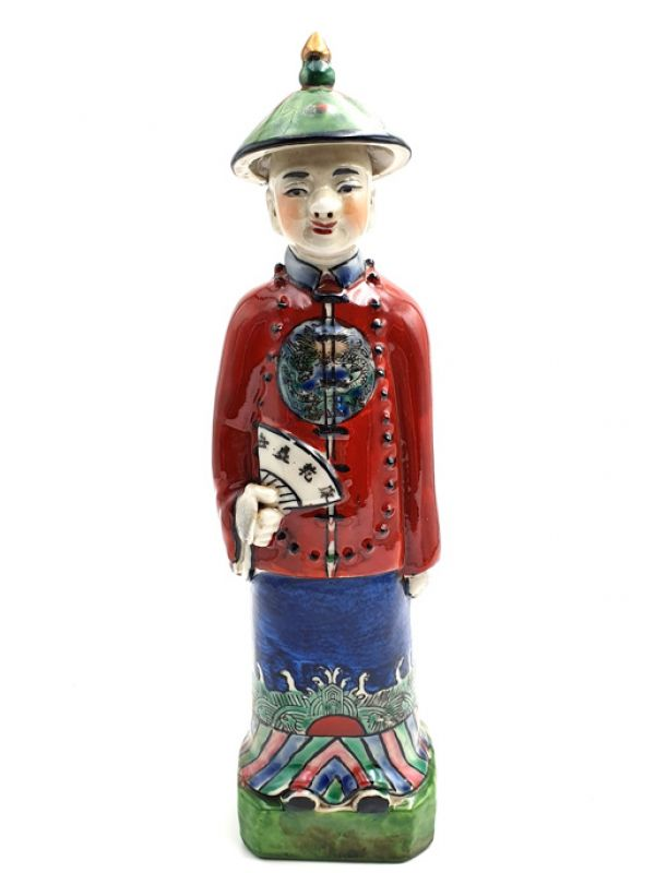 Statue Mandarin Chinois debout polychrome
