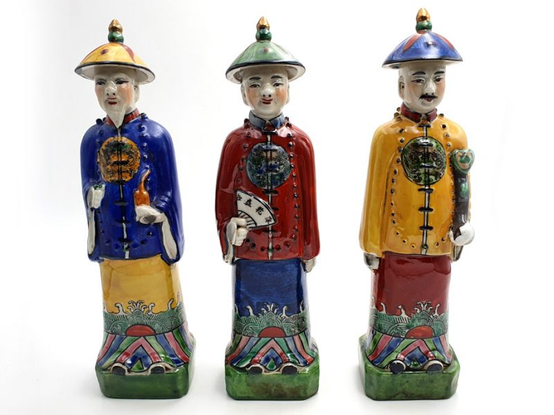 Statue Mandarin Chinois debout polychrome 5