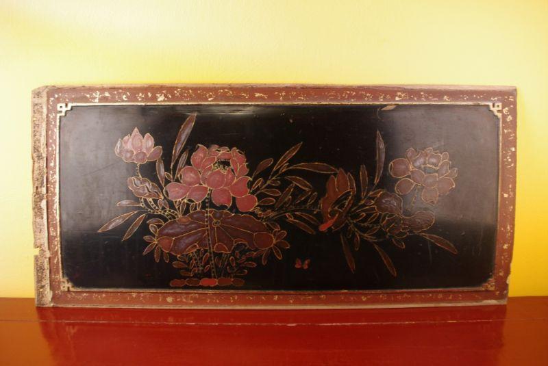 ancien panneau chinois en bois fleurs et oiseaux. Black Bedroom Furniture Sets. Home Design Ideas