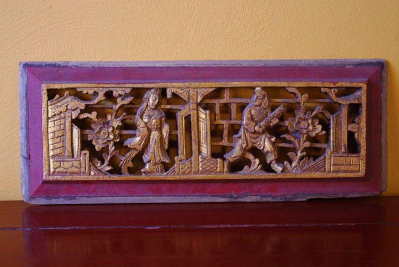 ancien panneau chinois en bois avec deux paysans. Black Bedroom Furniture Sets. Home Design Ideas