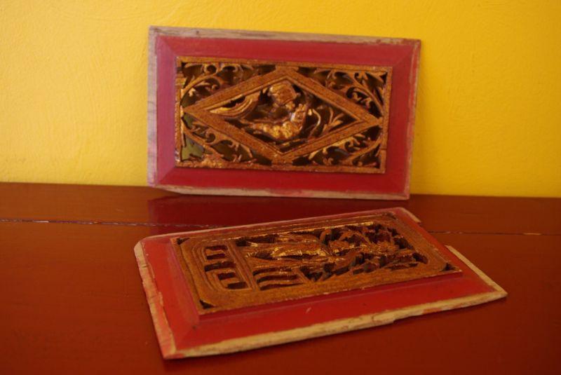 paire de panneau en bois chinois grav pecheur. Black Bedroom Furniture Sets. Home Design Ideas