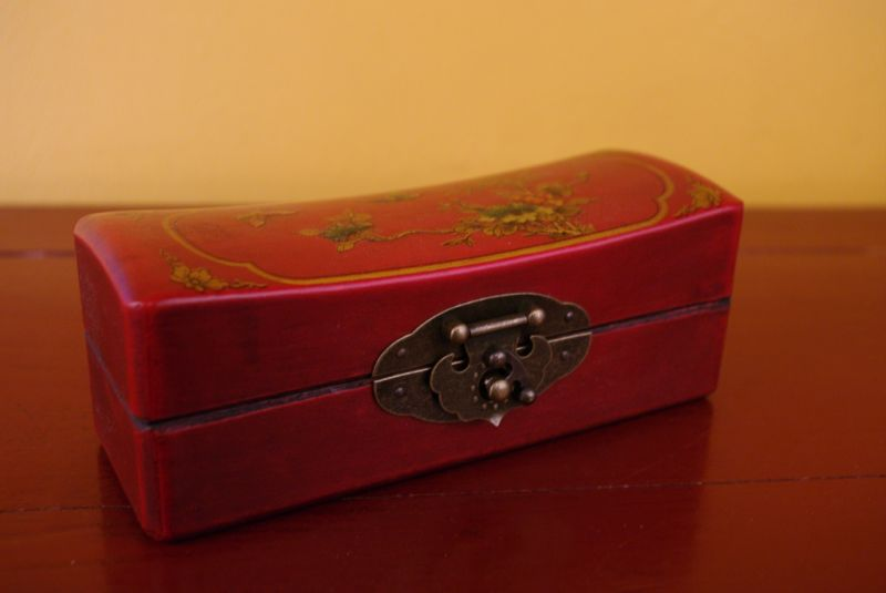 Red Chinese Wooden Box butterflies