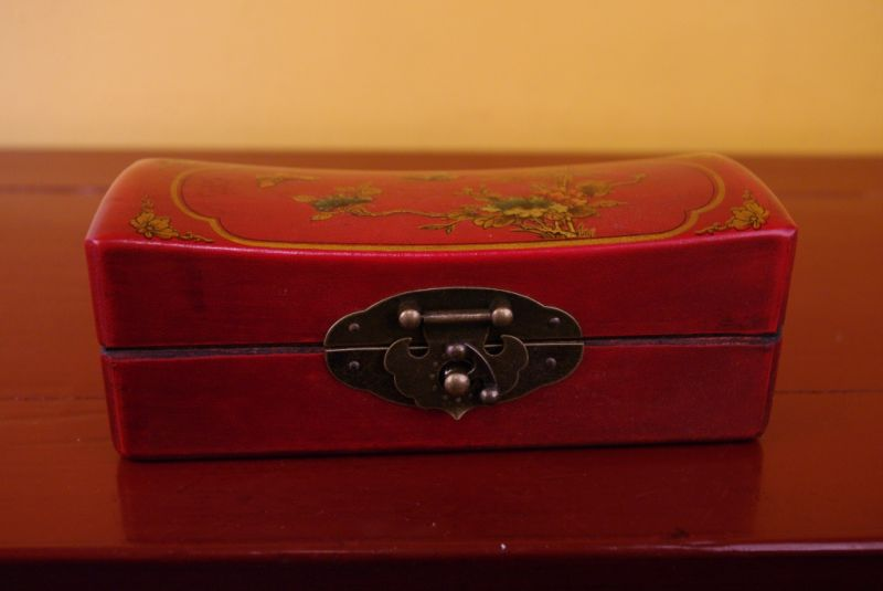 Red Chinese Wooden Box butterflies 2