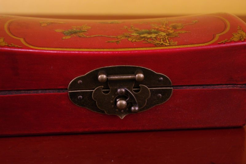 Red Chinese Wooden Box butterflies 3