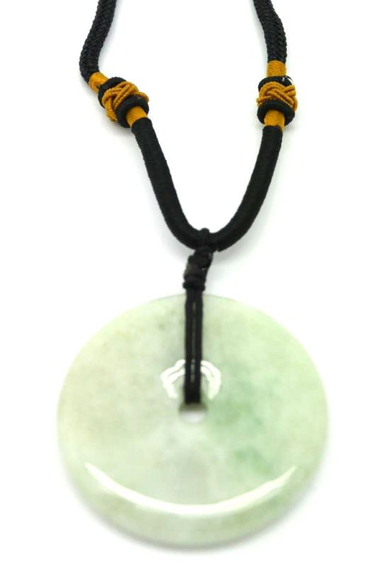 Jade Necklace White Bi Disc with green reflection