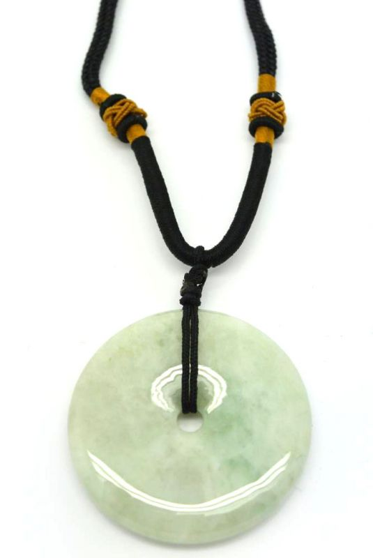 Jade Necklace White Bi Disc with green reflection 2