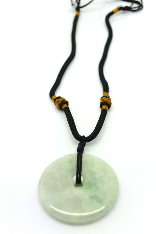 Jade Necklace White Bi Disc with green reflection 3