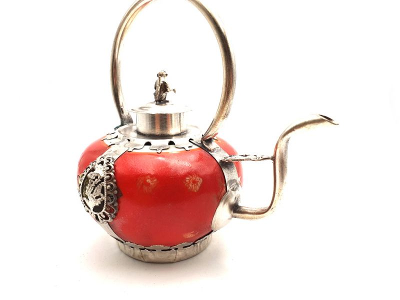 Chinese Porcelain Teapot Red 3