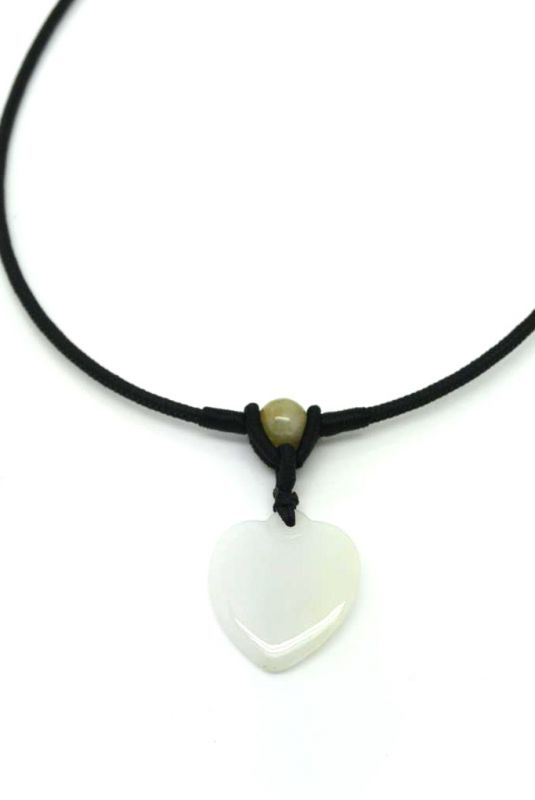 Necklace with Small Jade pendant White Heart