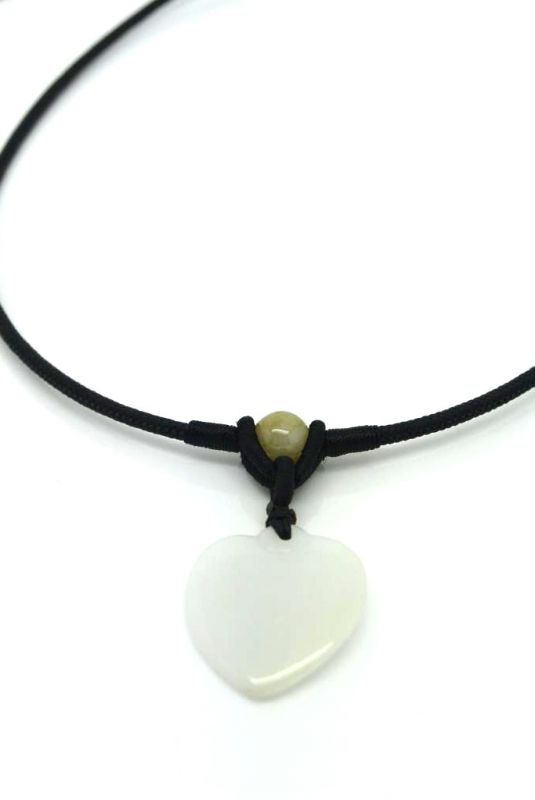 Necklace with Small Jade pendant White Heart 2